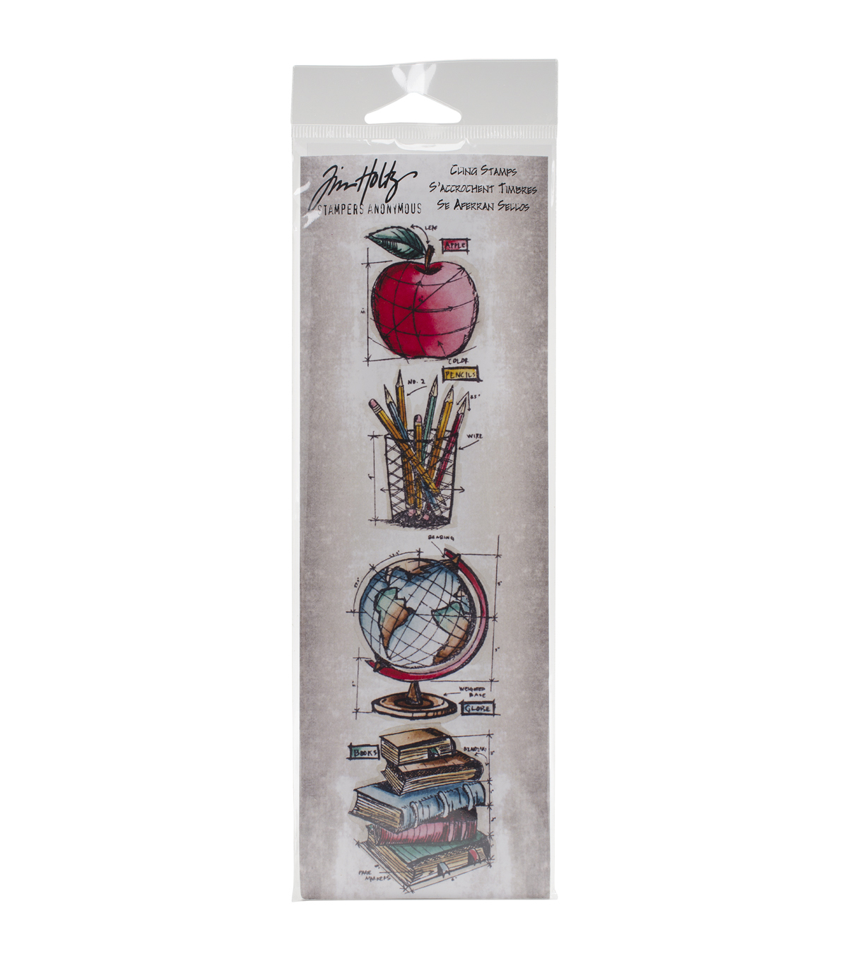 Tim Holtz Mini Blueprints Strip Cling Stamps 3\u0022X10\u0022-Schoolhouse