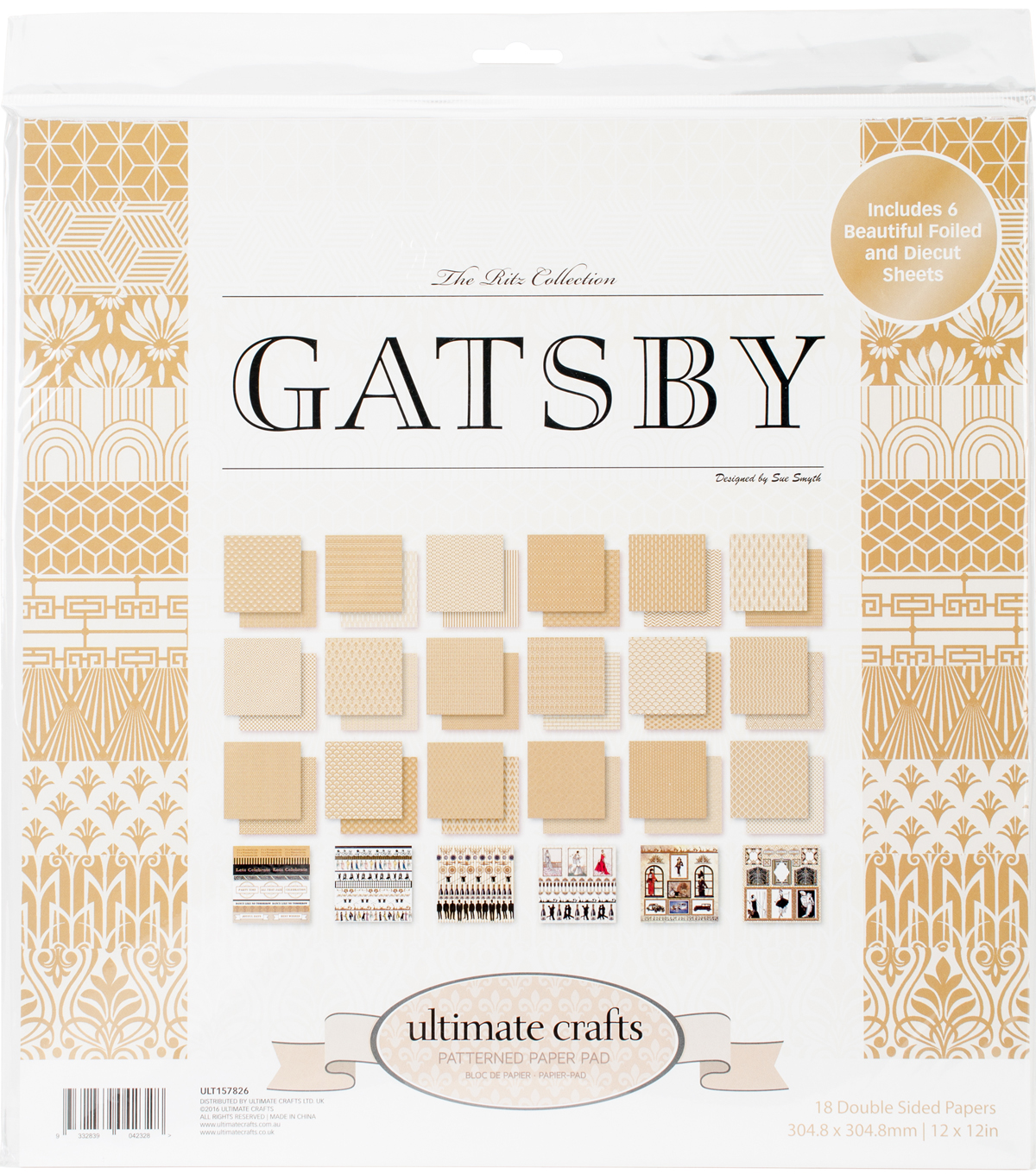Ultimate Crafts The Ritz 12 X12 Double Sided Paper Pad Gatsby