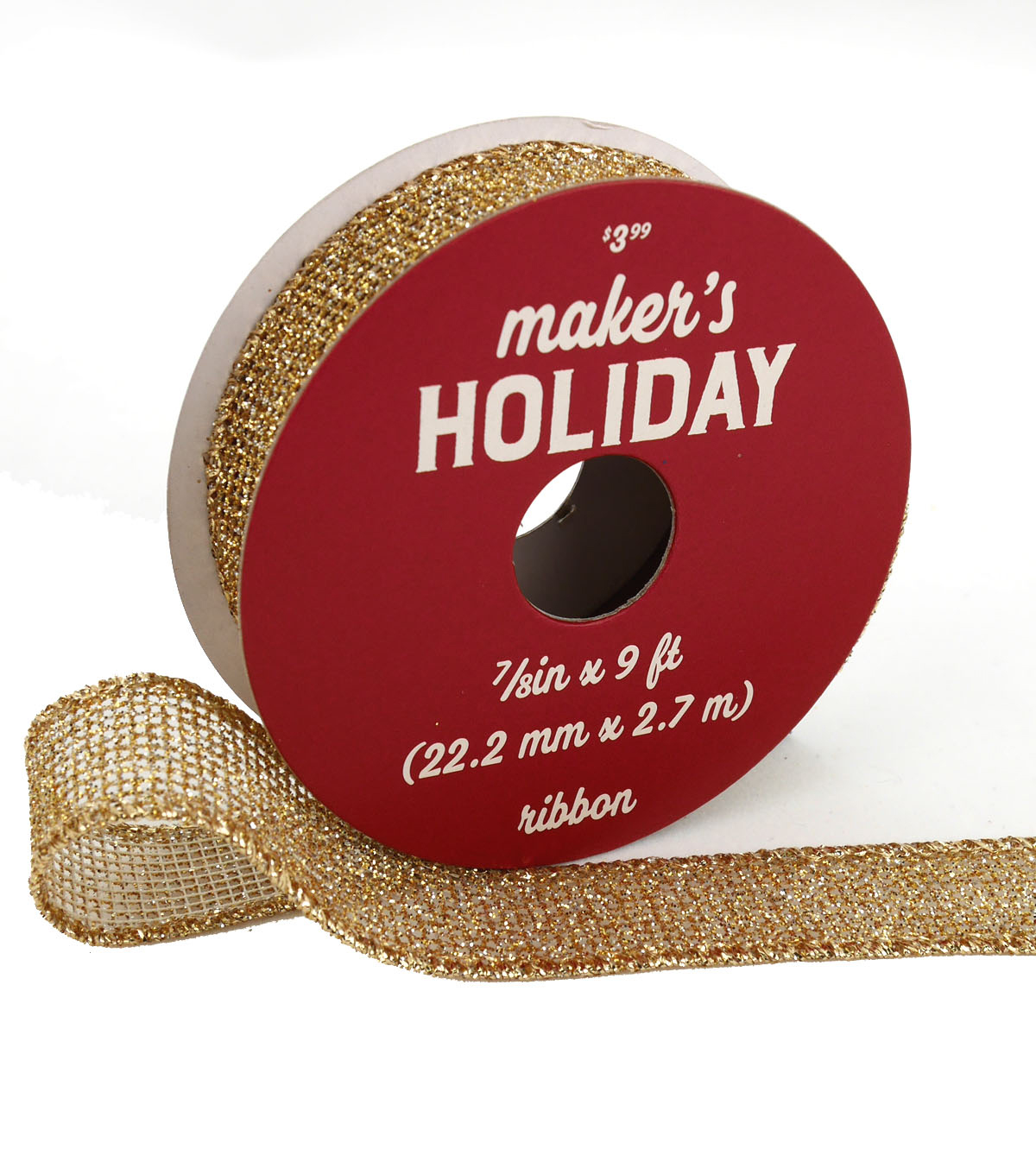 Maker\u0027s Holiday Traditional Holiday Metallic Mesh Ribbon 7/8\u0027\u0027x9\u0027-Gold