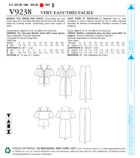 Vogue Pattern V9238 Misses\u0027 Top, Dresses & Bootcut Pants-Size 6-14