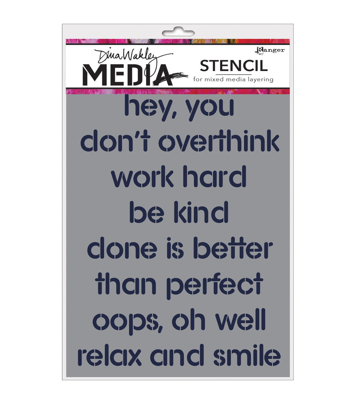 Ranger Dina Wakley Media 6\u0027\u0027x9\u0027\u0027 Stencil-Hey You
