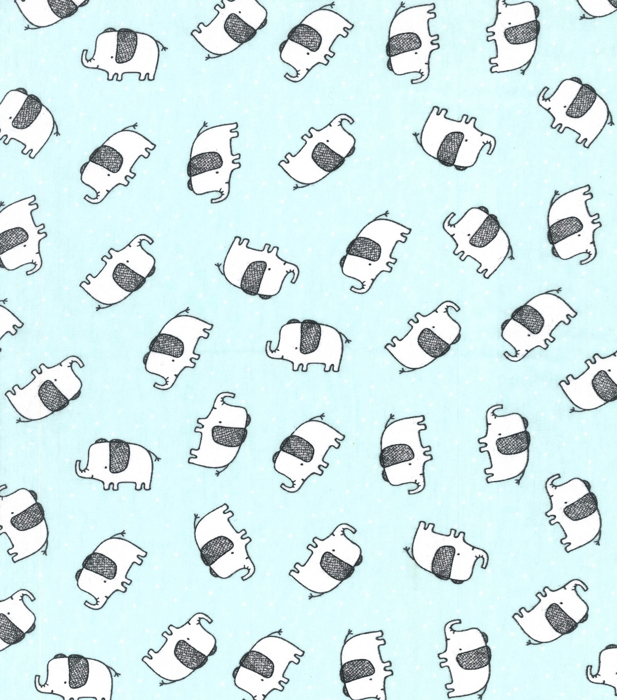 Snuggle Flannel Fabric-Tossed Elephant Blue