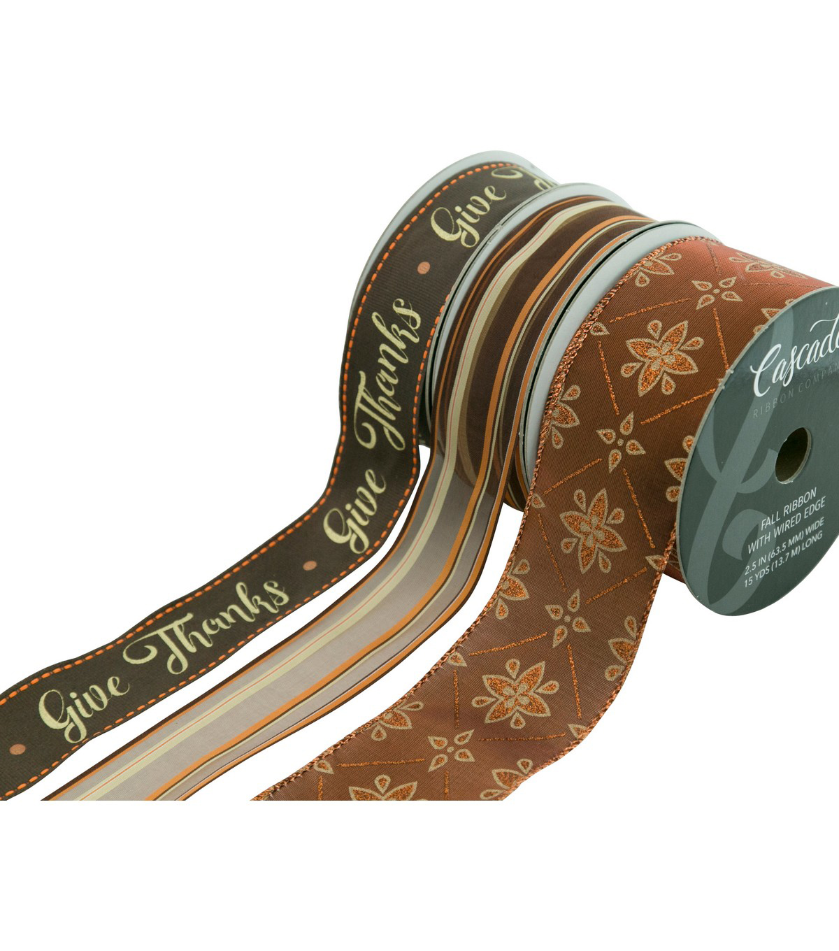 Cascade Give Thanks 3 pk Ribbons-Brass Metallic, Pumpkin & Gold