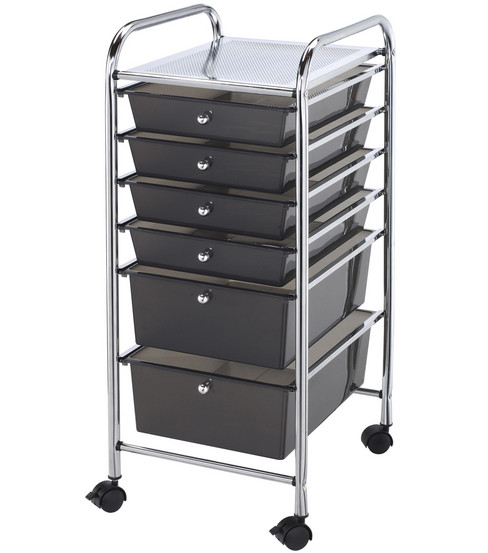 Blue Hills Studio Storage Cart with 6 Drawers-Smoke