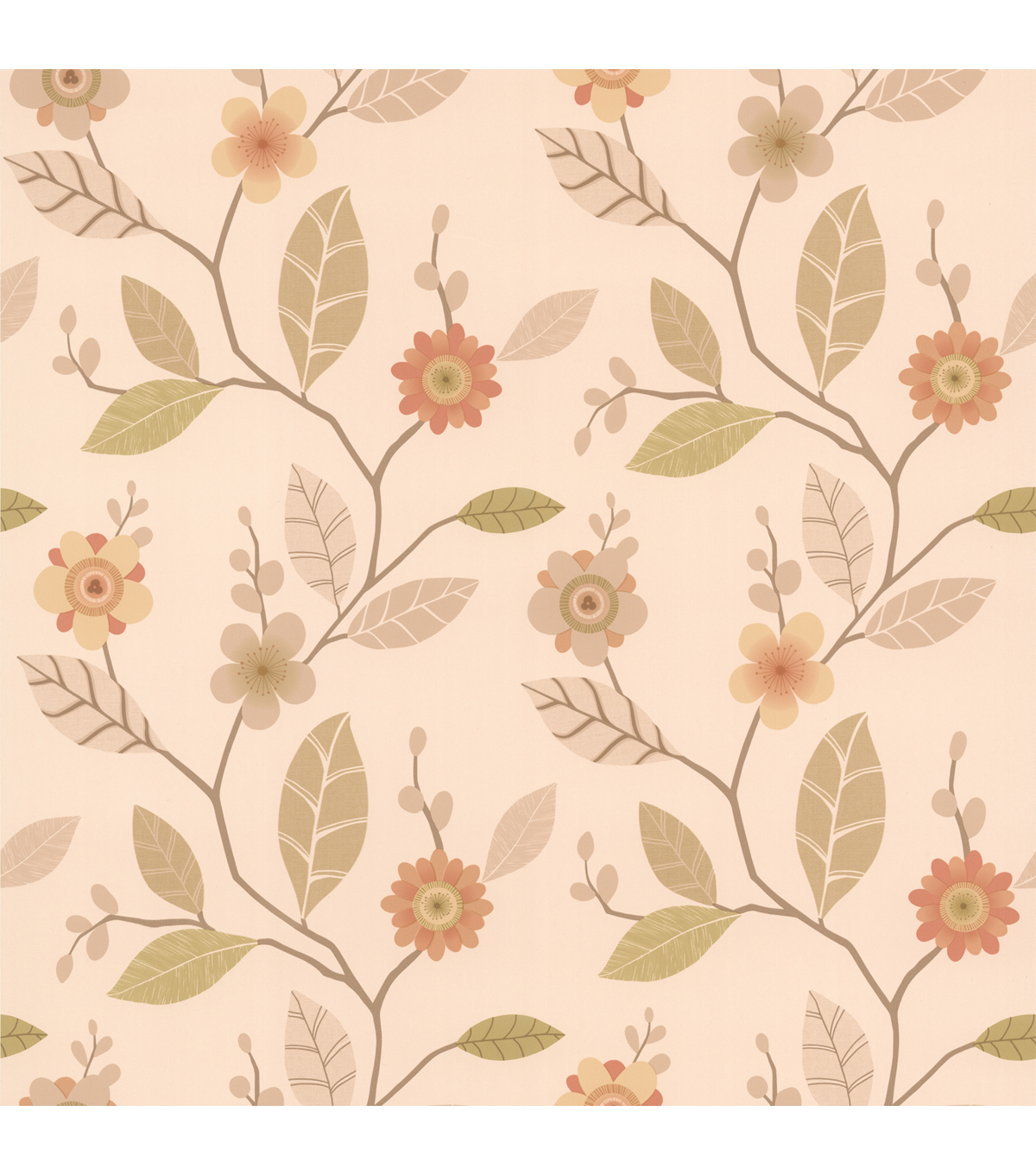 Claudia Apricot Retro Blossom  Wallpaper Sample