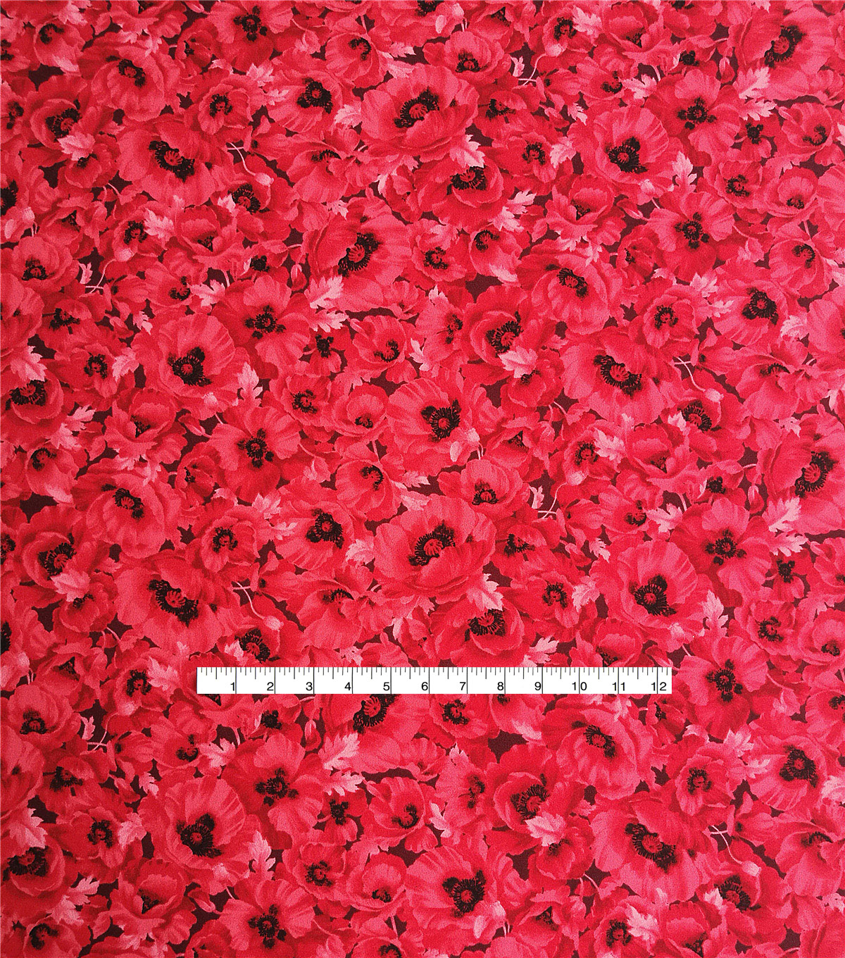 Stretch Crepe Knit Fabric 58\u0022-Black & Red Poppy