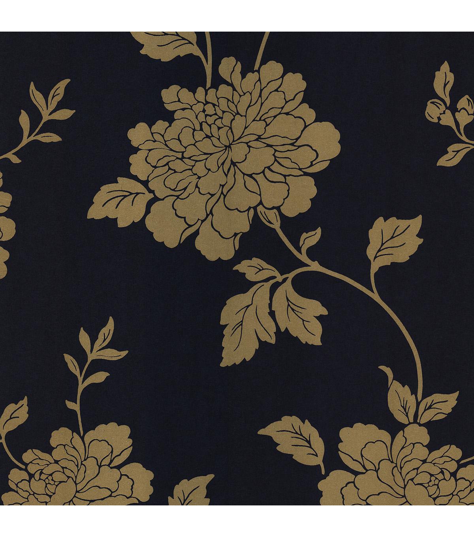 Keika Navy Japanese Floral Wallpaper Sample Joann
