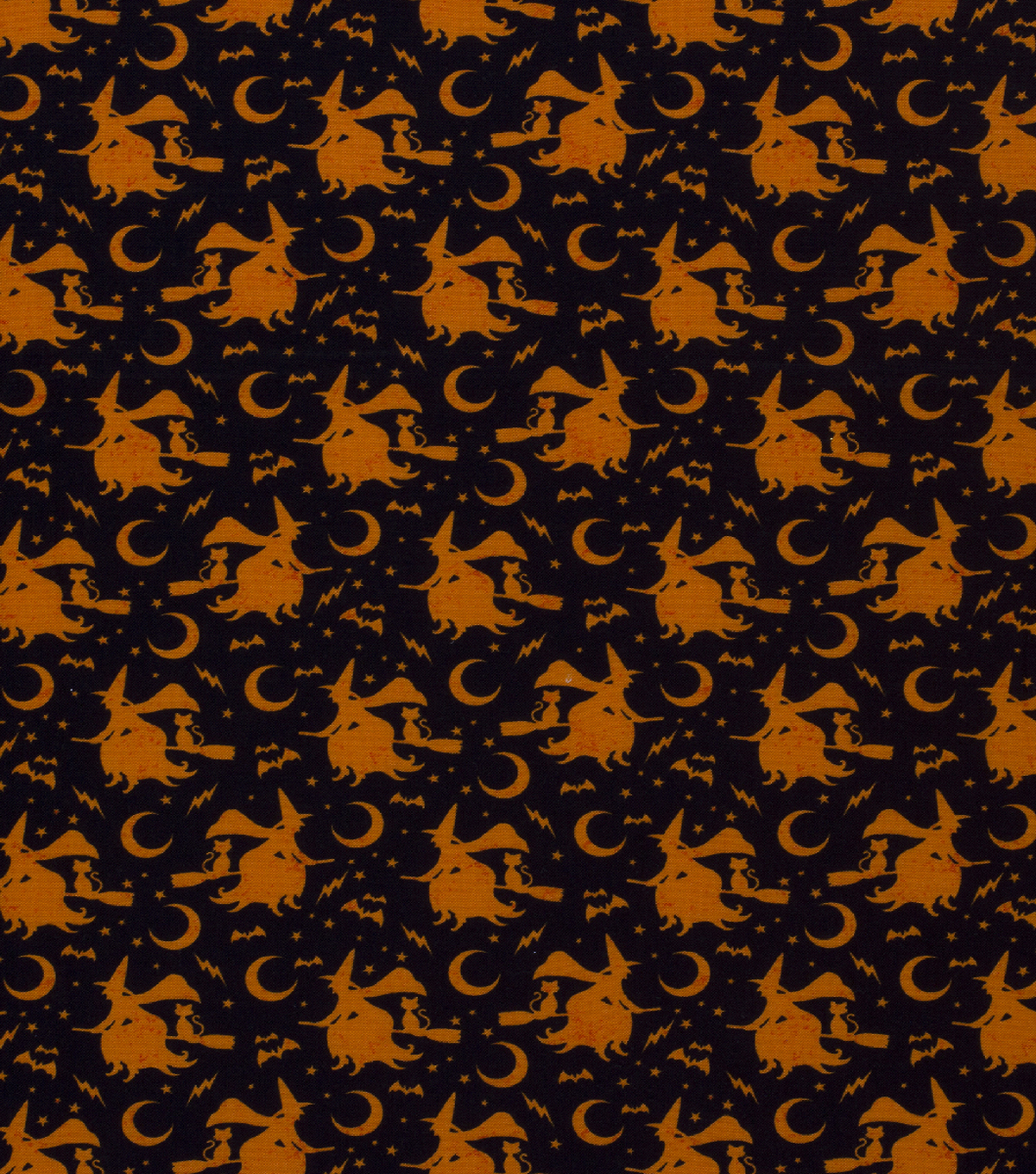 Halloween Cotton Fabric-Witches Riding In Orange