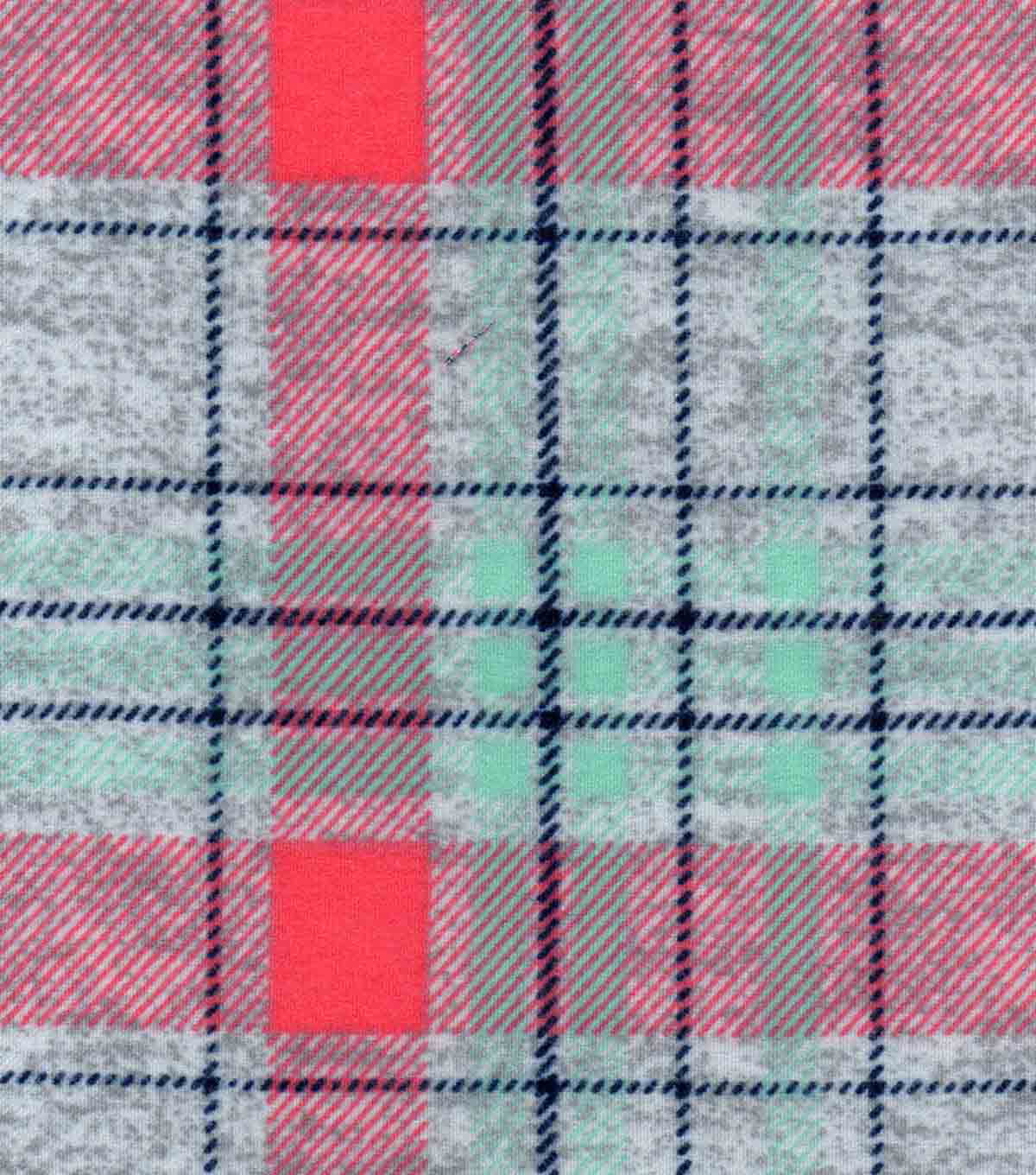 Luxe Flannel Fabric -Coral Mint Gray Plaid