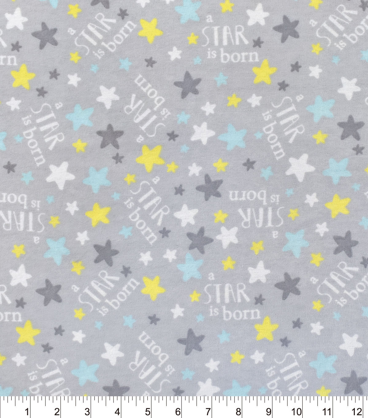 Nursery Flannel Fabric A Star Is Born Grey