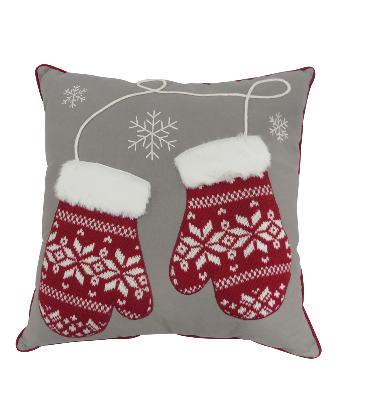 Handmade Holiday Christmas 18\u0027\u0027x18\u0027\u0027 Pillow-Fair Isle on Gloves