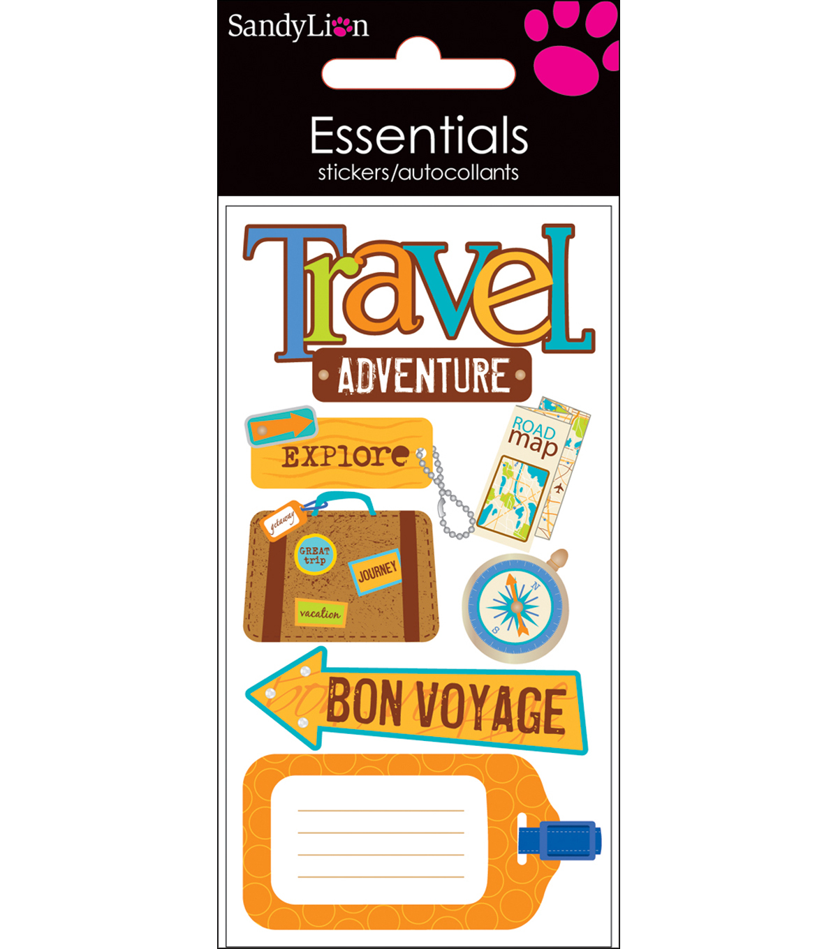 Essentials Dimensional Stickers 2.25\u0022X5\u0022 Sheet-Travel Adventure