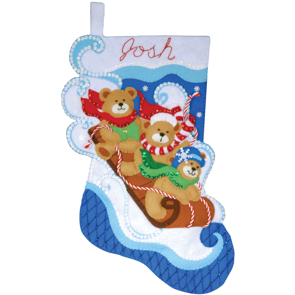 Design Works Felt Applique Kit Toboggan Bears Stocking