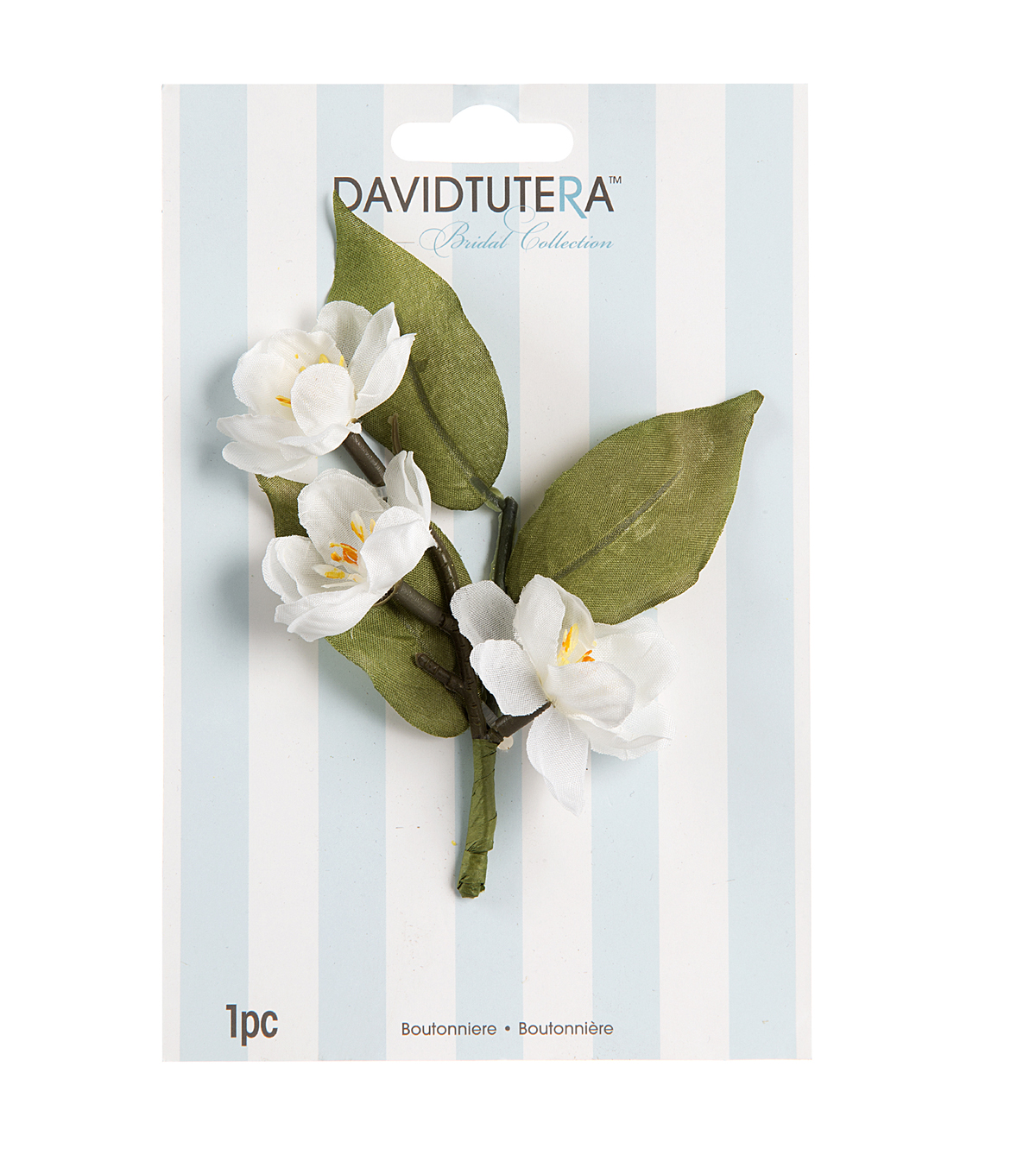 David Tutera 3-Flower Boutineer-White