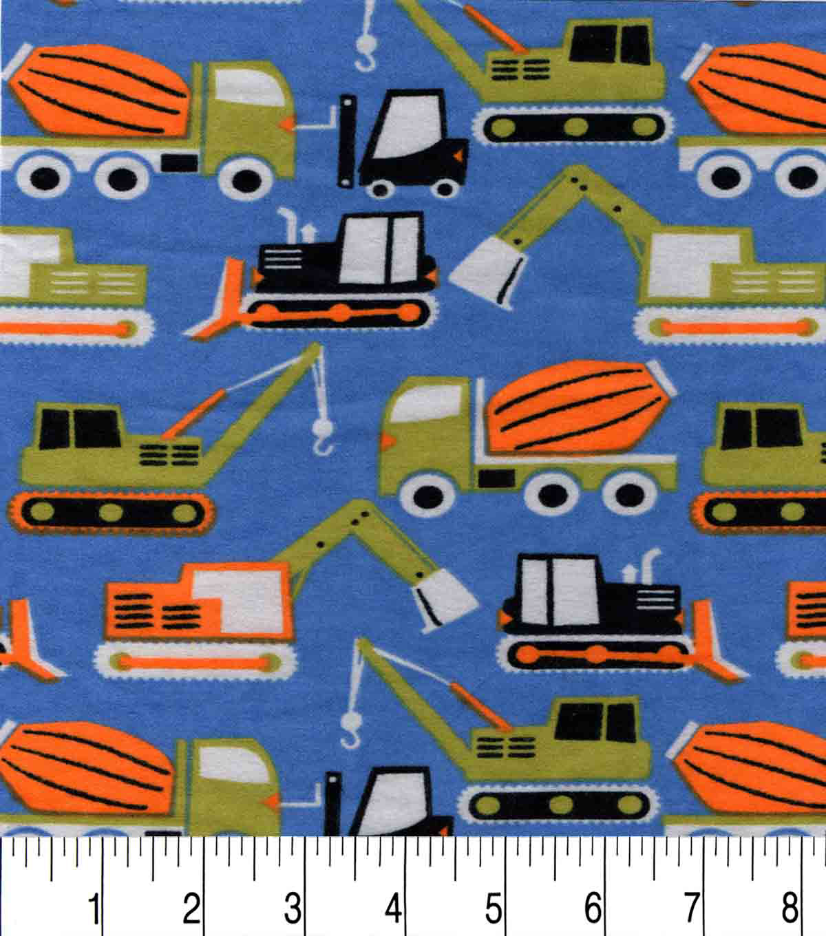 Snuggle Flannel Fabric -Construction Vehicles