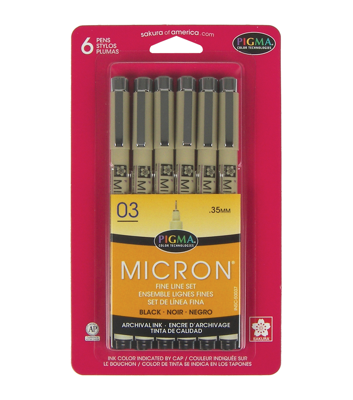 Pigma Micron Pens 03 .35mm 6/Pkg-Black