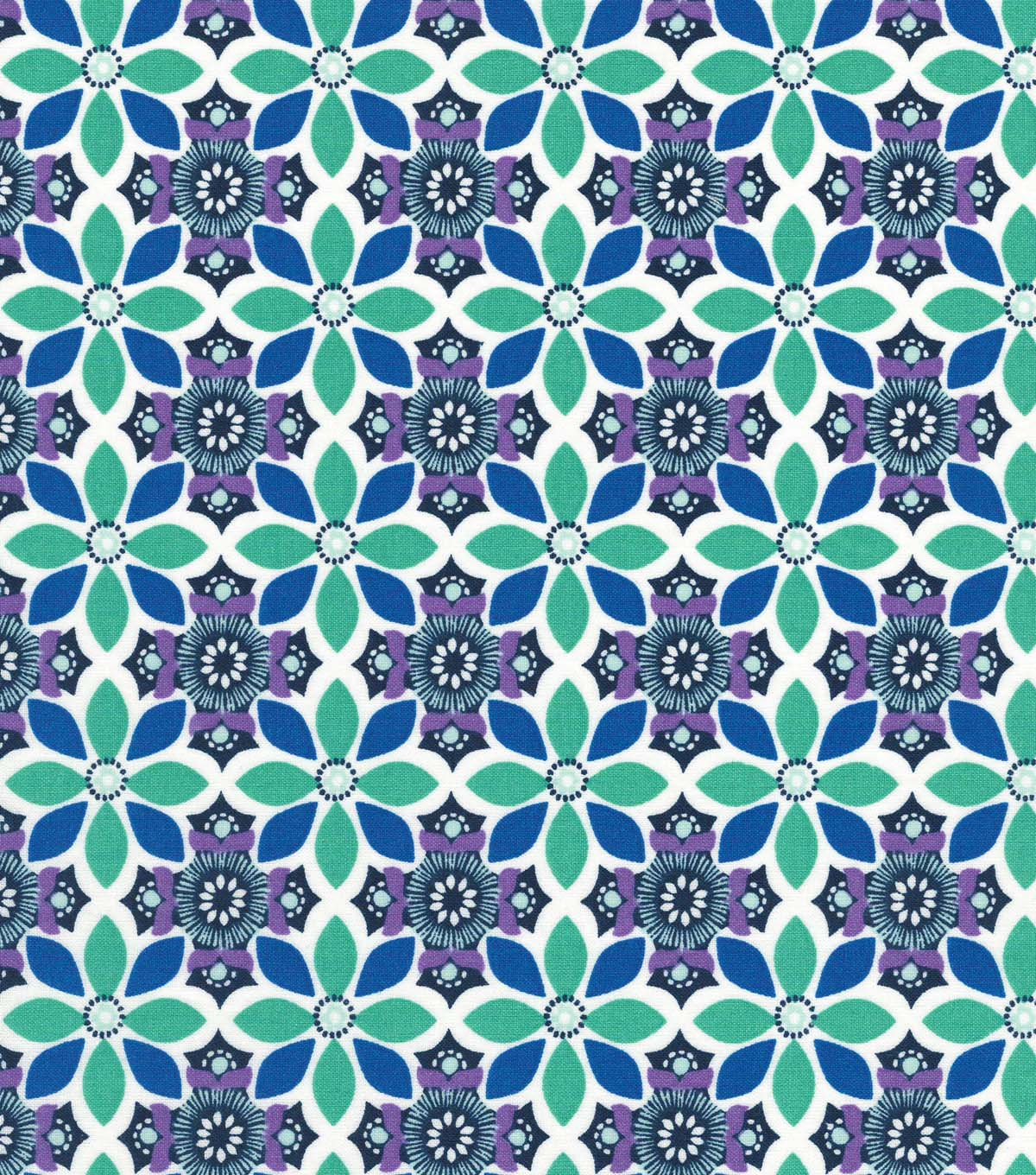 Quilter\u0027s Showcase Cotton Fabric -Blue & Teal Medallion