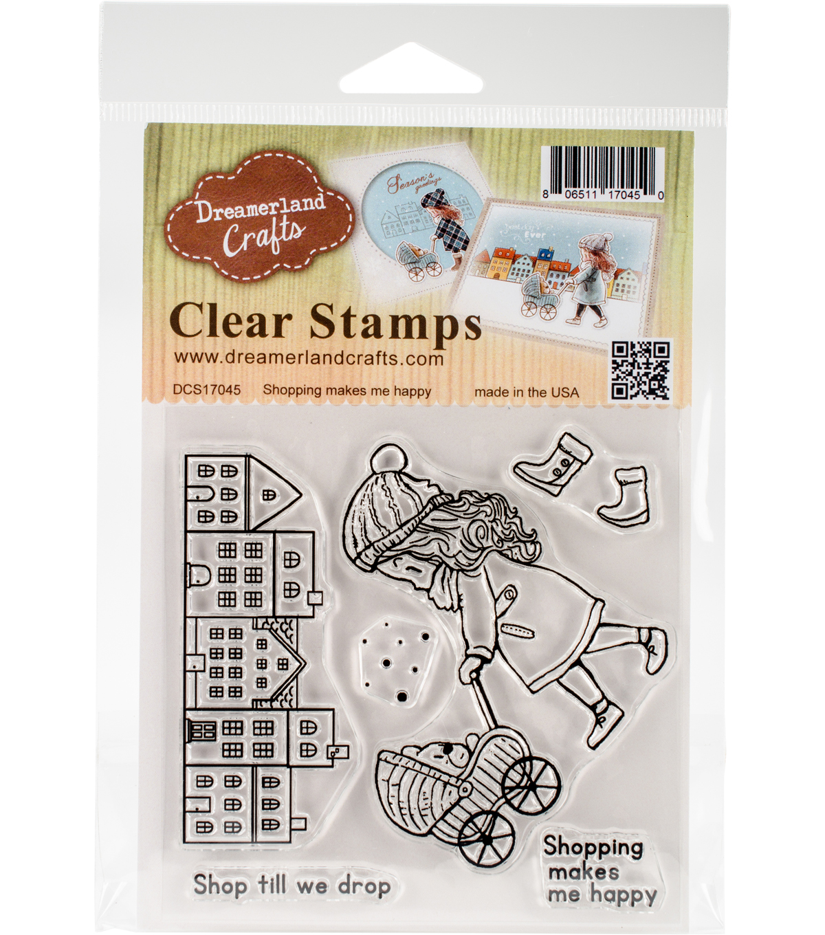 Dreamerland Crafts Clear Stamp Set-Shopping Makes Me Happy