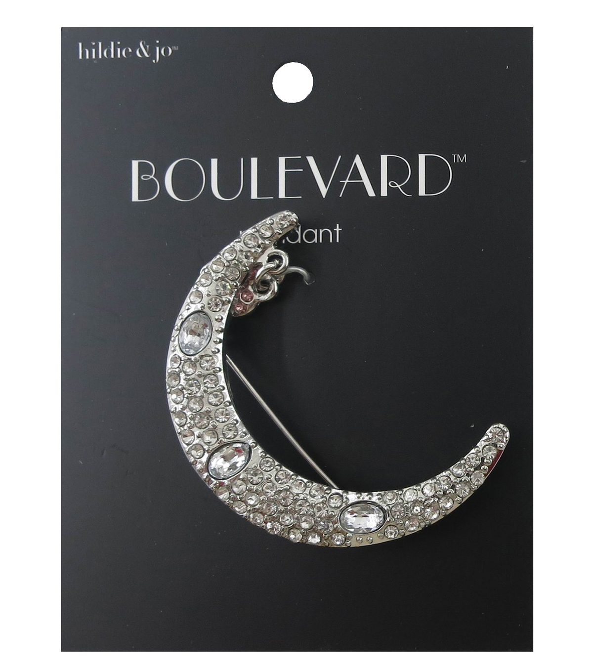 hildie & jo Boulevard 2\u0027\u0027x0.25\u0027\u0027 Moon with Heart Silver Brooch