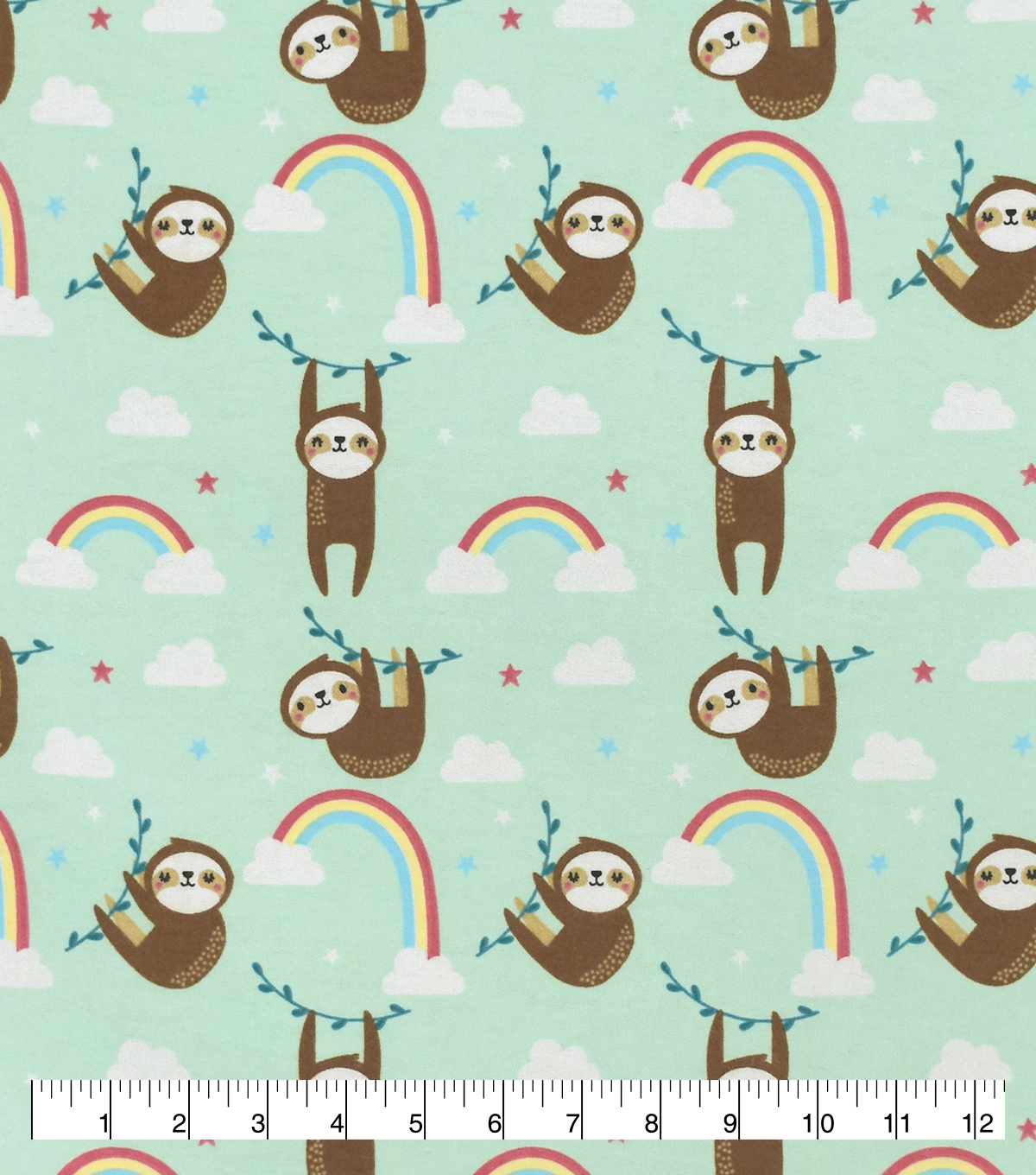 Snuggle Flannel Fabric-Rainbow Sloth
