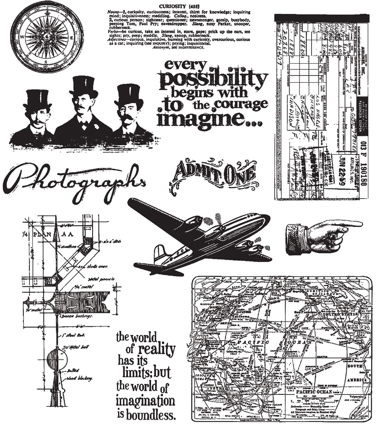 Tim Holtz Large Cling Rubber Stamp Set-Warehouse District