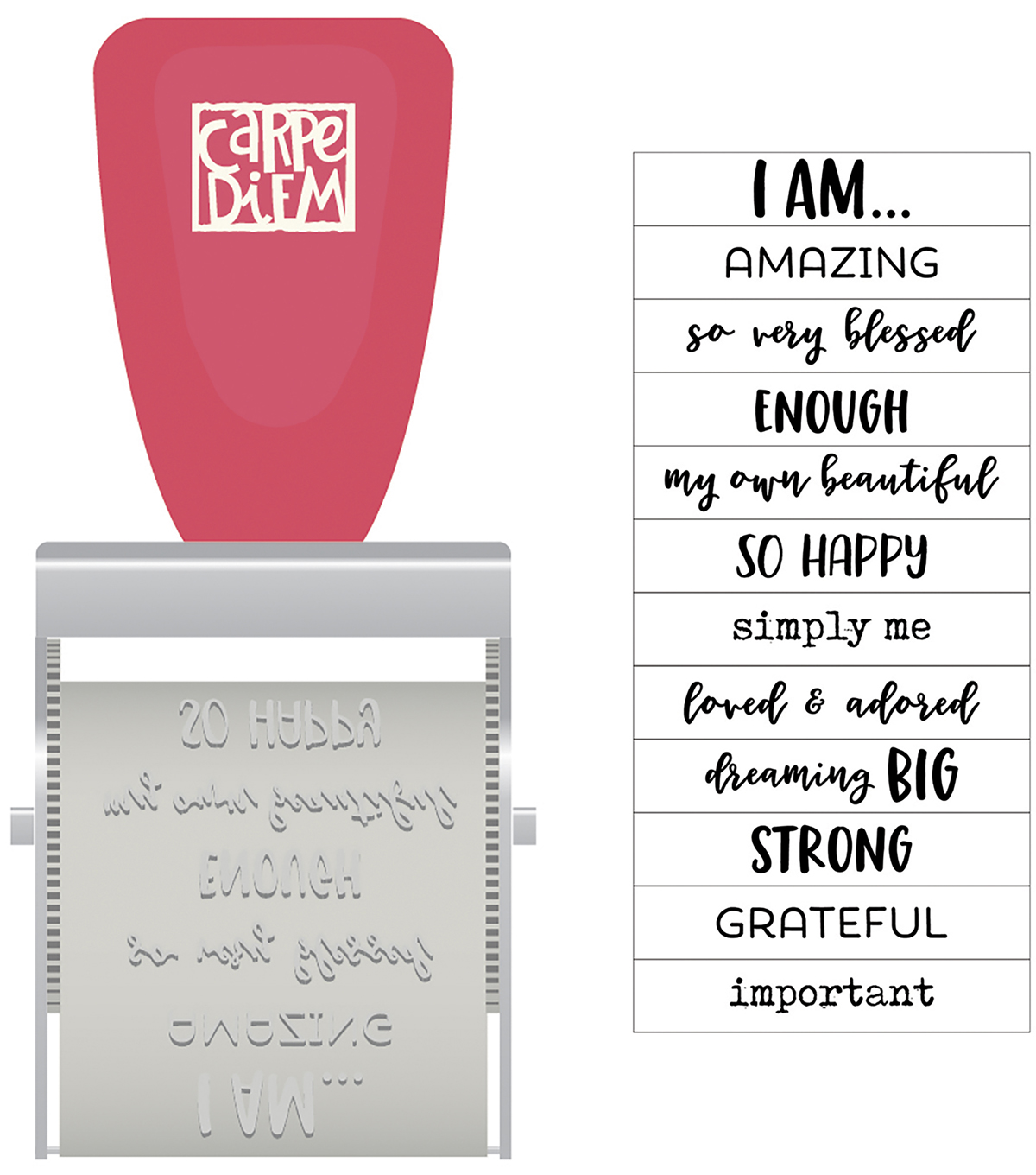 Simple Stories Carpe Diem I Am 12 Designs Rotary Rubber Stamp