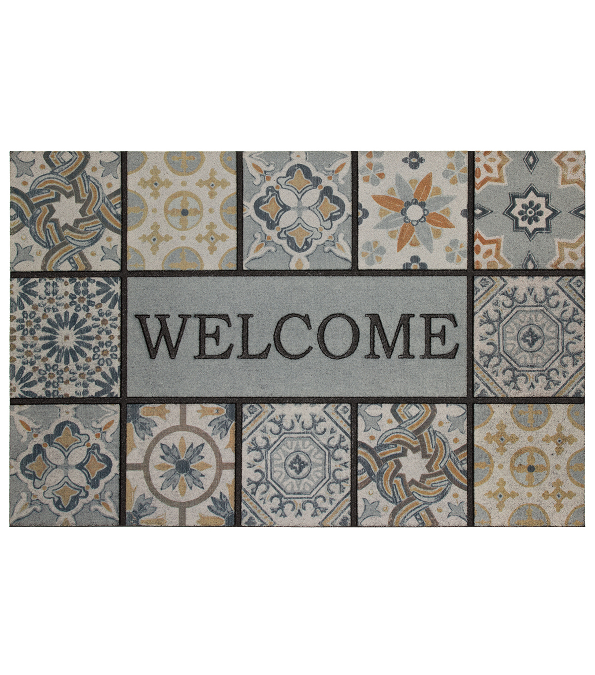 Mohawk Homes Patina Tiles Estate Welcome Doormat-Grey