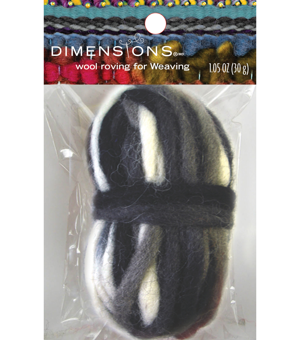 Black Variegated Pencil Roving