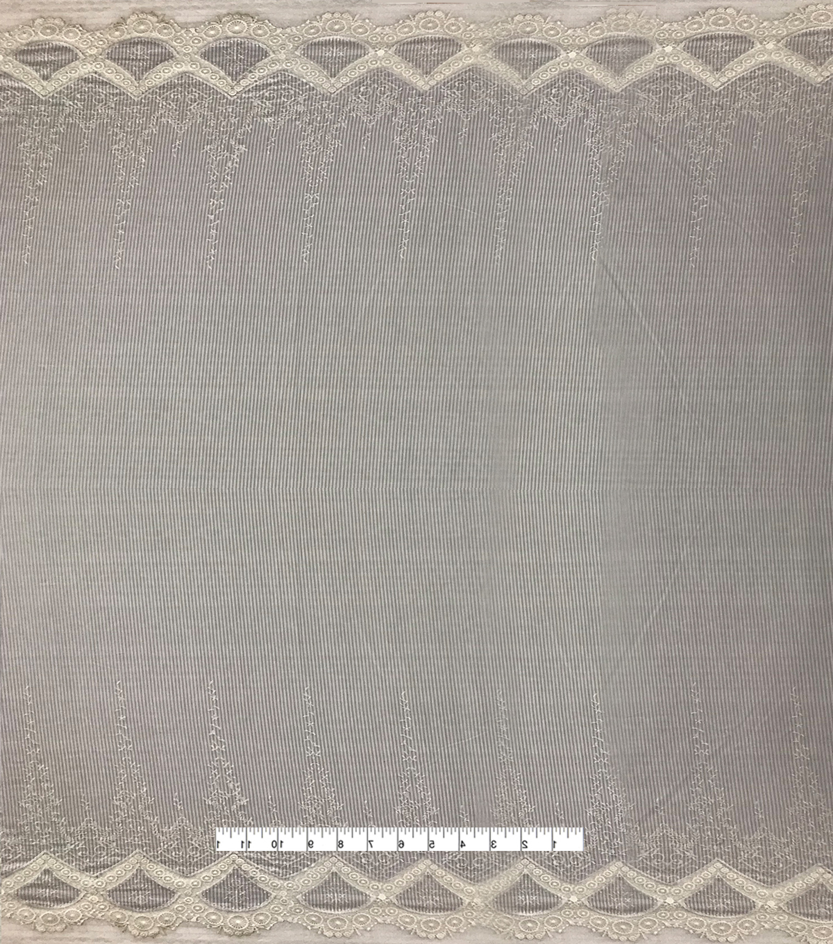 Cotton Fabric with Embroidery Border-Gray & White Stripes