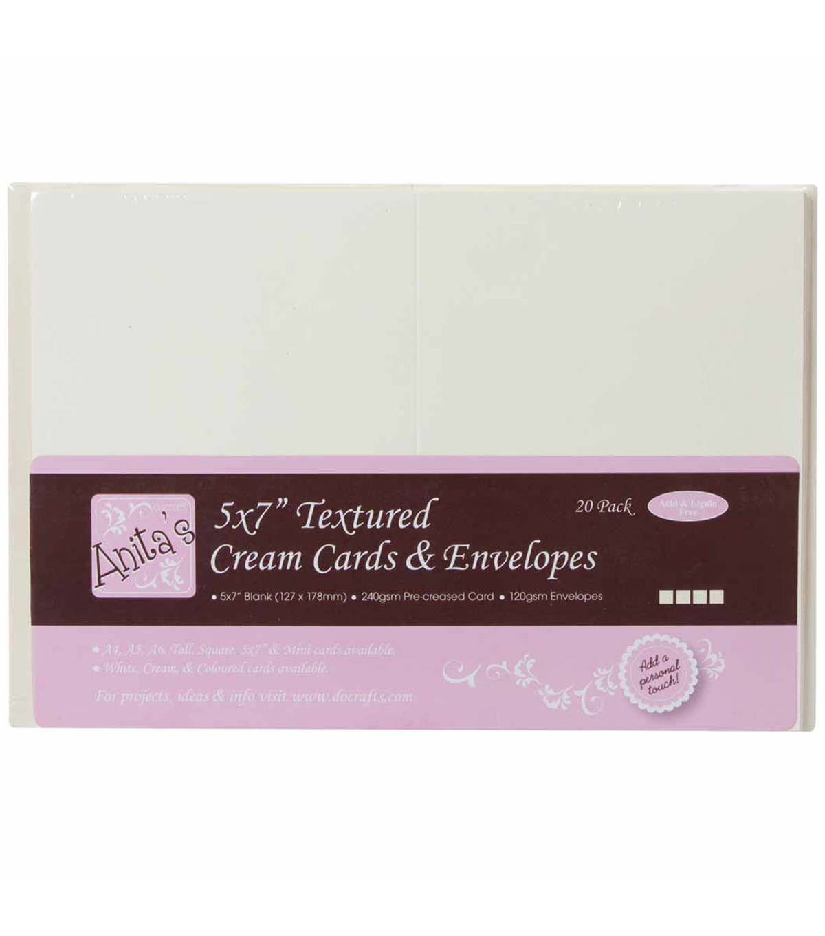 Anita\u0027s Textured Cards/Envelopes 5\u0022X7\u0022 20/Pkg-Cream