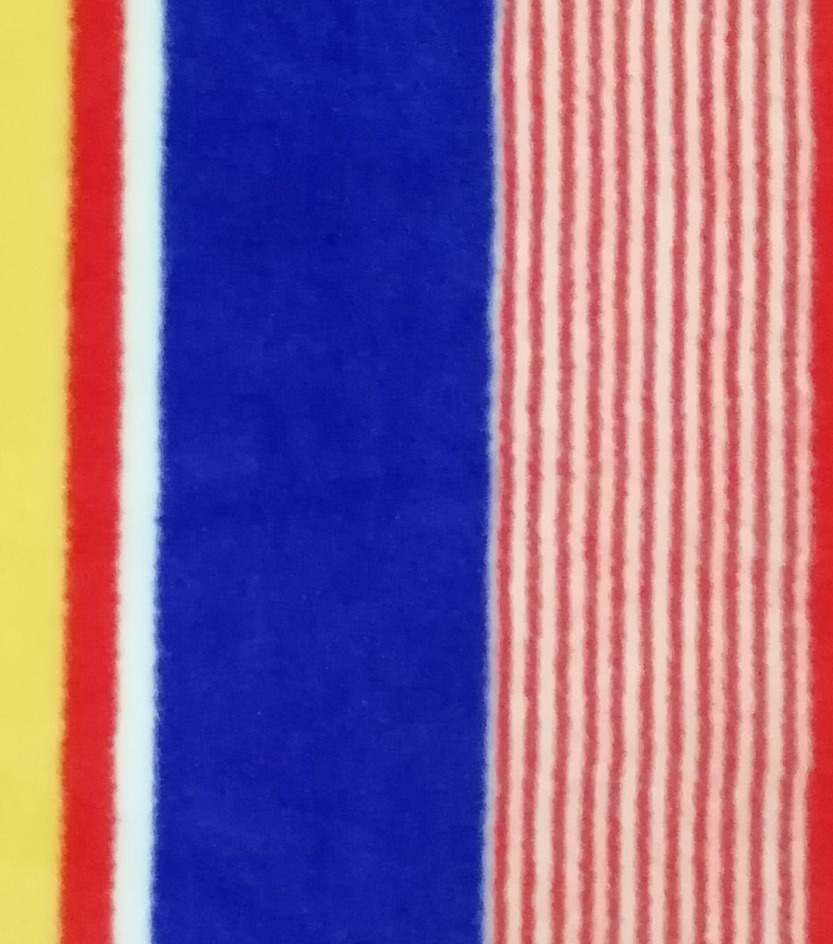 Super Fleece Fabric -Red & Blue Stripes
