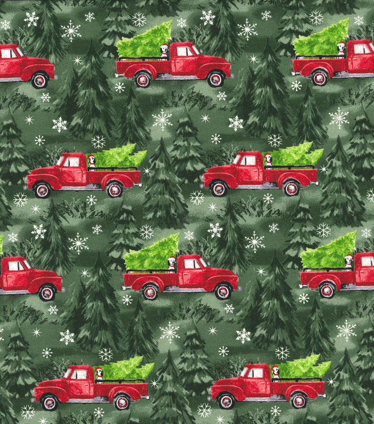 Christmas Cotton Fabric-Red Truck with Pup and Green Glitter