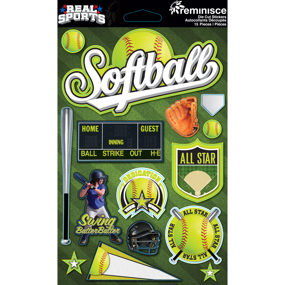 Reminisce Real Sports Dimensional Stickers Softball