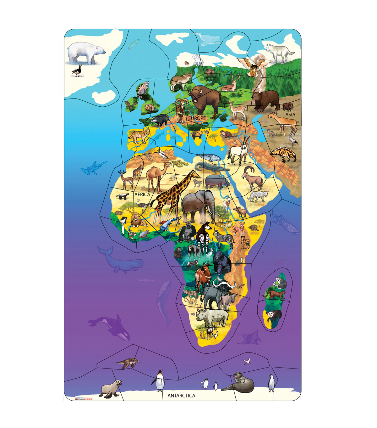 Animal Magnetism Magnetic Wildlife Map Puzzle: Eurasia & Africa