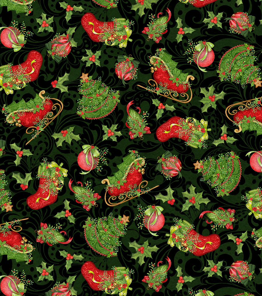 Christmas Cotton Fabric-Stockings & Sleighs