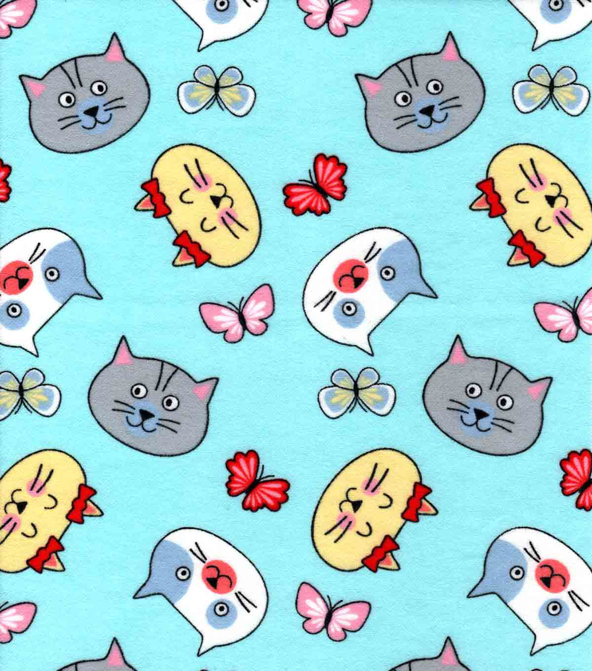 Snuggle Flannel Fabric-Cat Faces And Butterflies