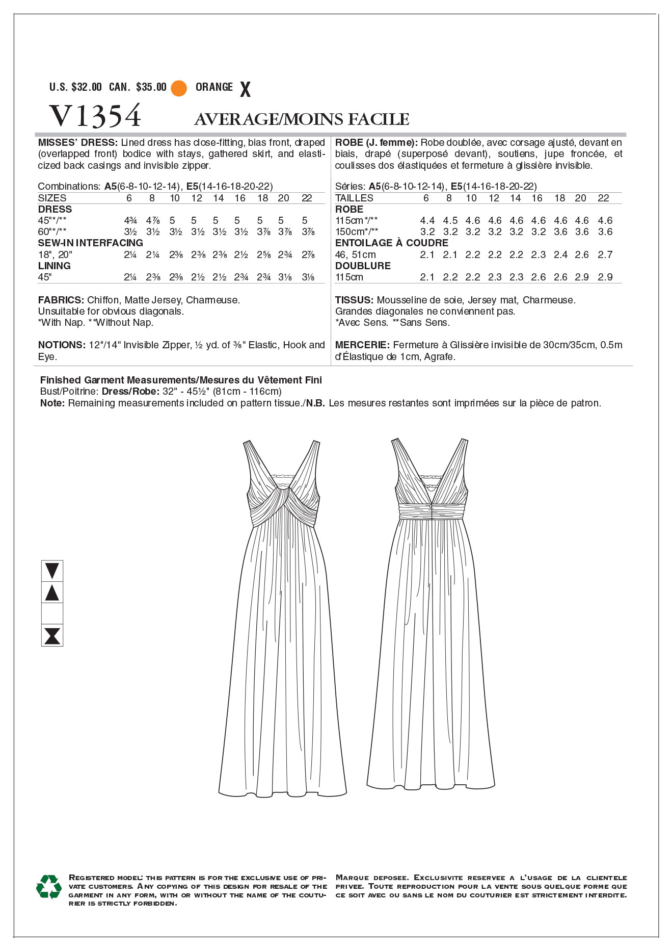 Vogue Patterns Misses Dress-V1354