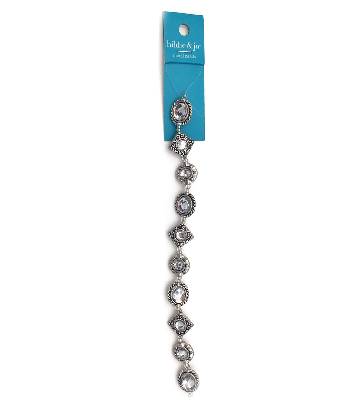 Blue Moon Strung Metal Beads,Various Shapes,Silver w/Crystals