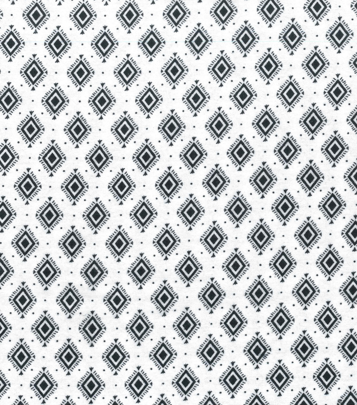 Wide Flannel Fabric -Black White Diamond