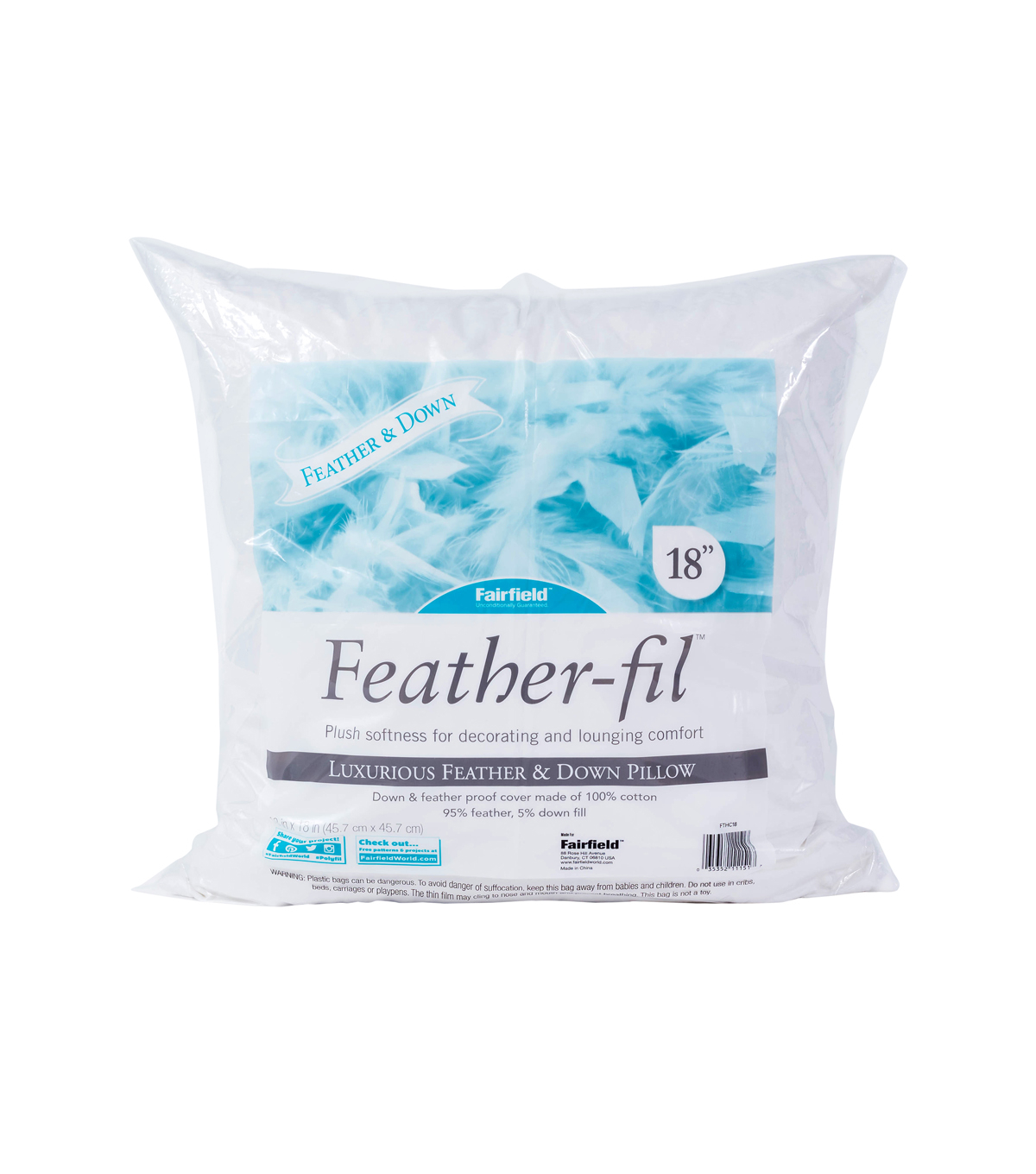 Fairfield Feather-Fil Feather & Down Pillow 18\u0022 x 18\u0022