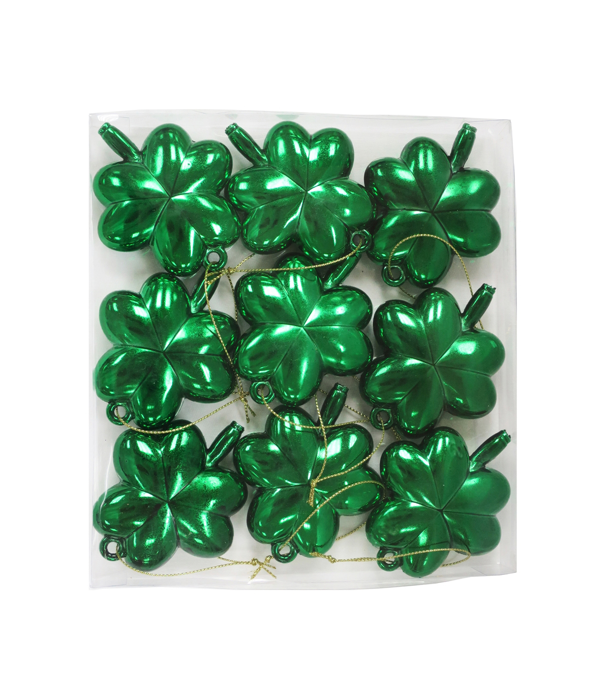 St. Patrick\u0027s Day Decor 9 pk 3\u0027\u0027 Shamrock Ornaments-Green