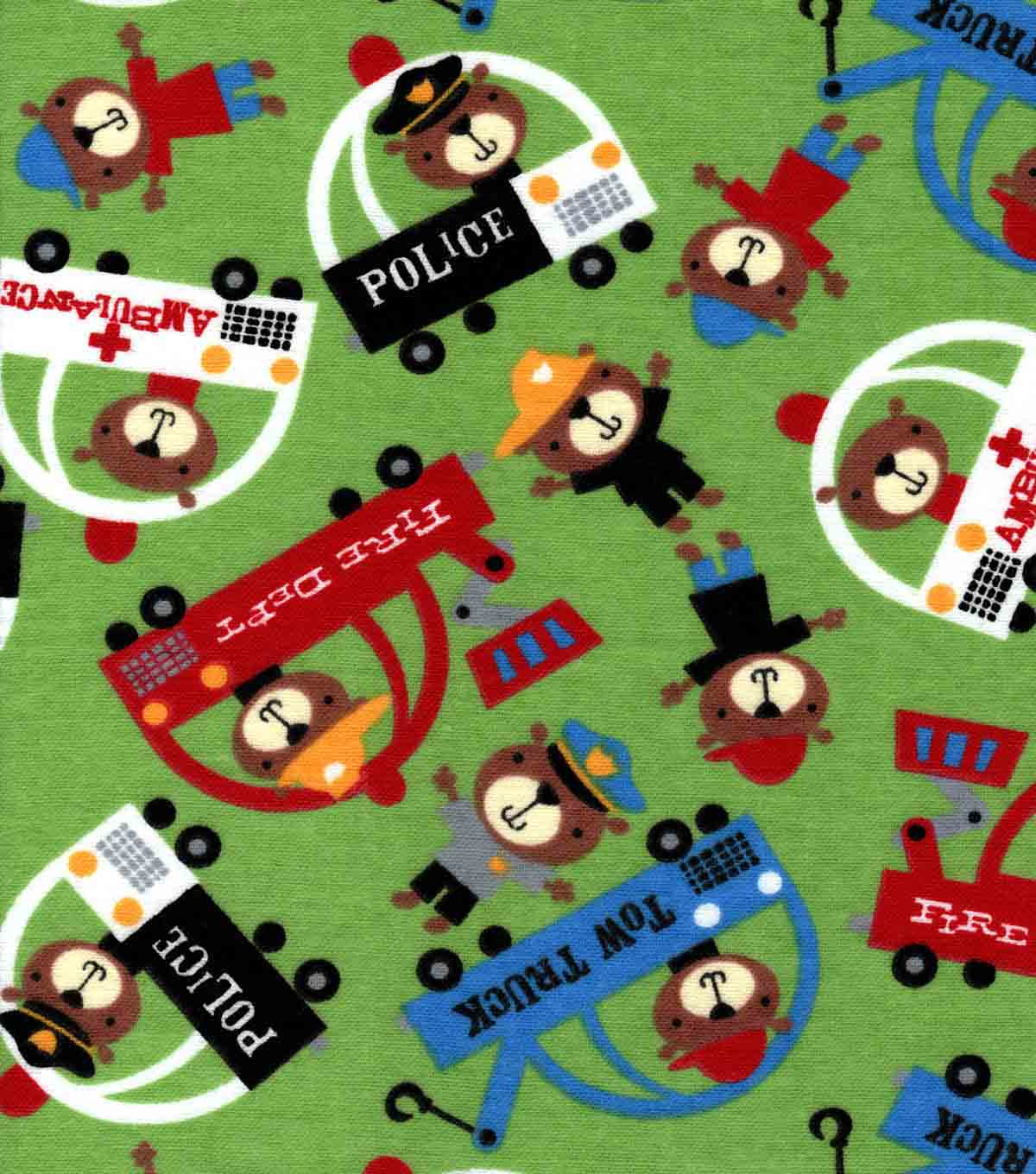 Snuggle Flannel Fabric -Teddy Traffic