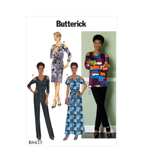 Butterick Pattern B6425 Misses\u0027 Top, Dress, Jumpsuit & Pants-Size 6-14