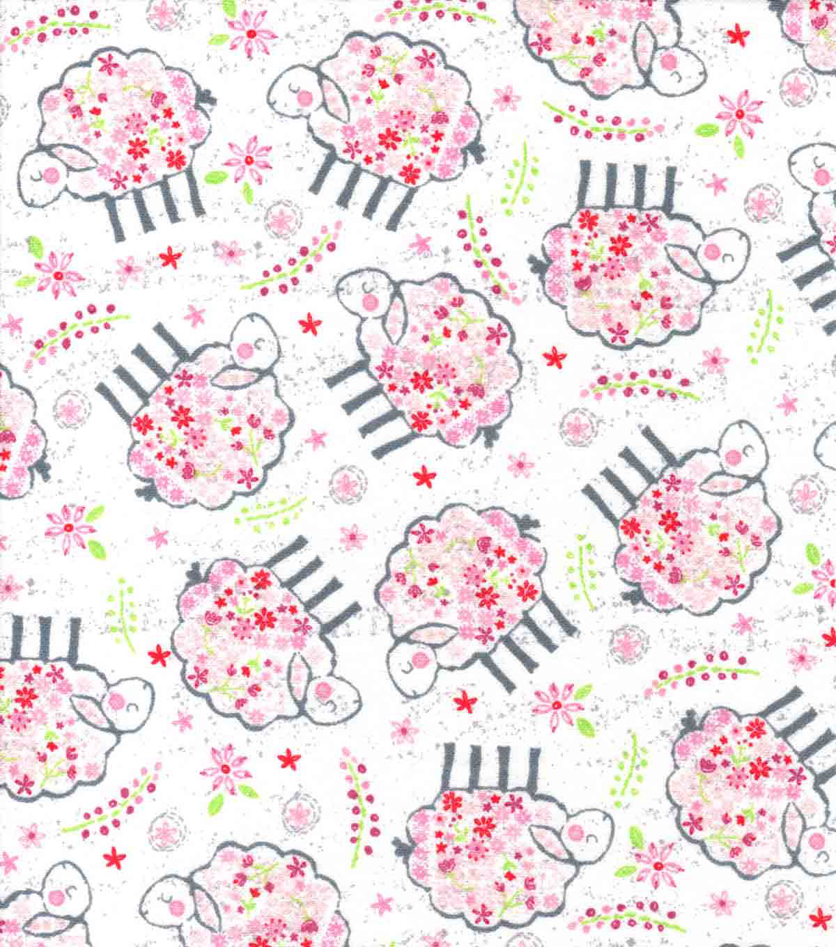Nursery Flannel Fabric-Tossed Lambs