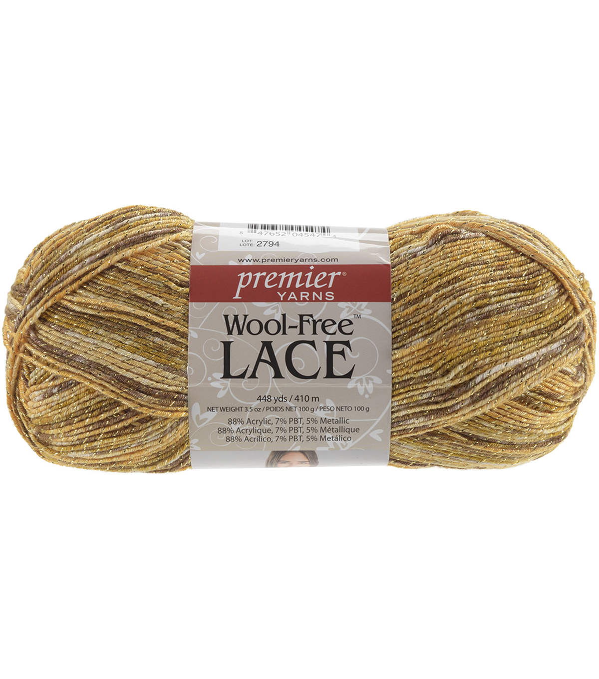 Wool Free Lace Yarn, Antique Brass