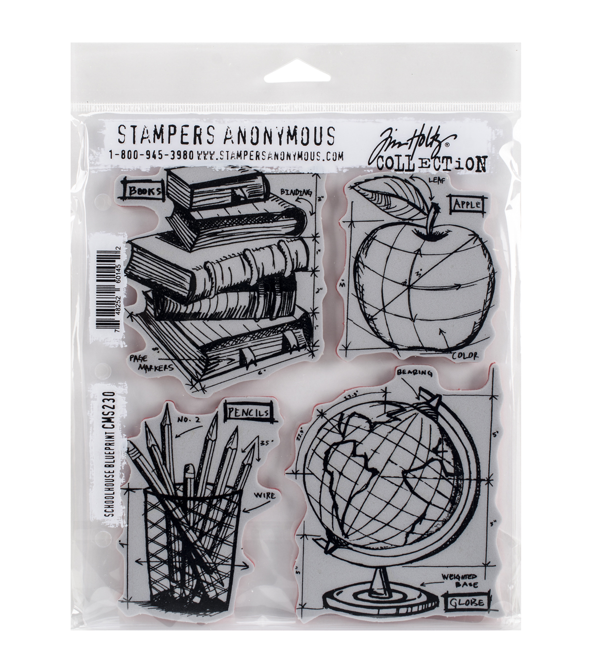 """Stampers Anonymous Tim Holtz Cling Stamps 7/""""X8.5/""""-Treats Blueprint"""