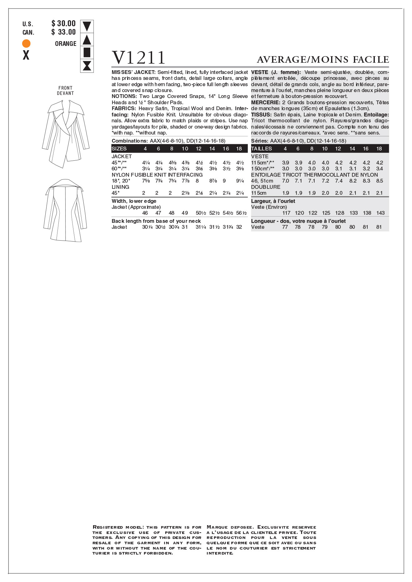 Mccall Pattern V1211 Aax (4-6-8-Vogue Pattern