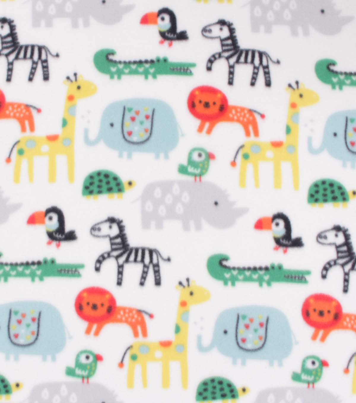 Blizzard Fleece Fabric-Zoo Animals