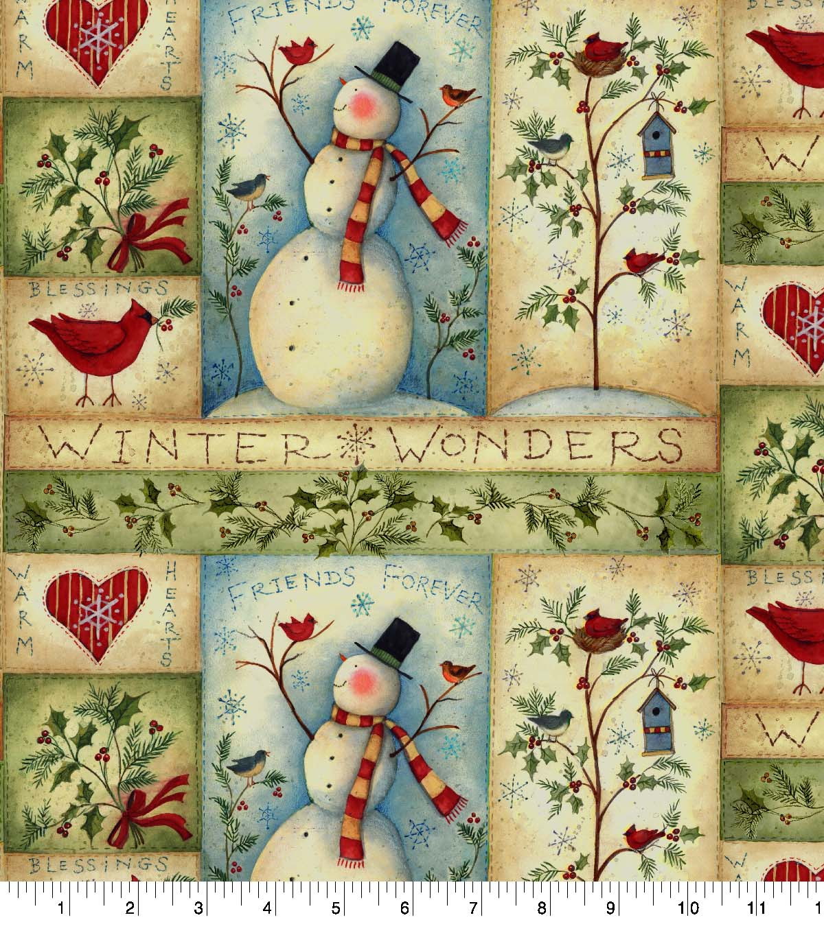 Susan Winget Cotton Fabric 43\u0022-Snowmen