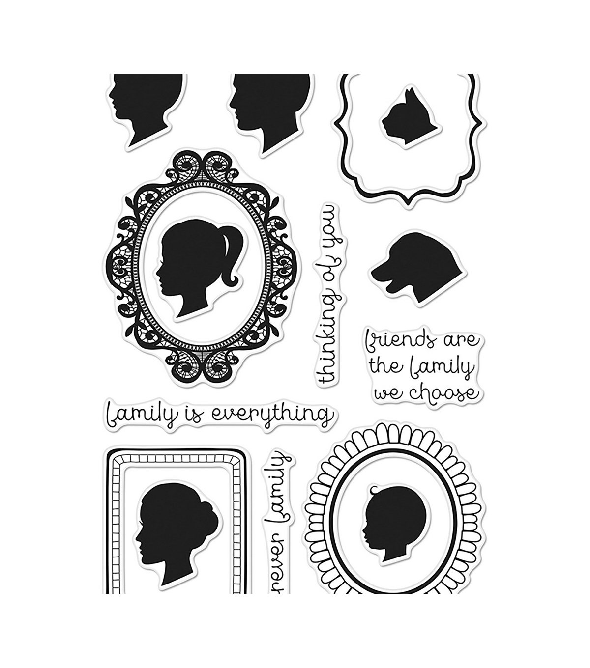 Hero Arts 15 pk Poly Clear Stamps-Family Portrait
